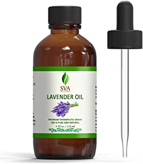 SVA Organics 100% Natural Lavender Essential Oil – Therapeutic Grade Aromatic Oil, 4 Fl Oz with Dropper | Natural Aromathe...