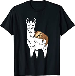 Funny Fluffy Animal Sloth Riding Llama T-Shirt