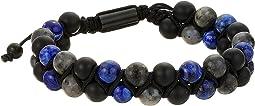 Lapis Labradorite and Beaded Double Strand Adjustable Bracelet