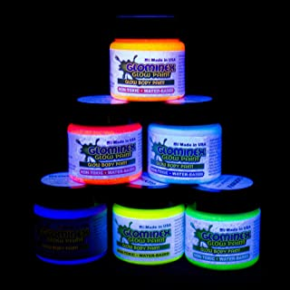 Glominex 6 Pack - 1oz Glow in The Dark Body and Face Paint for Kids & Adults