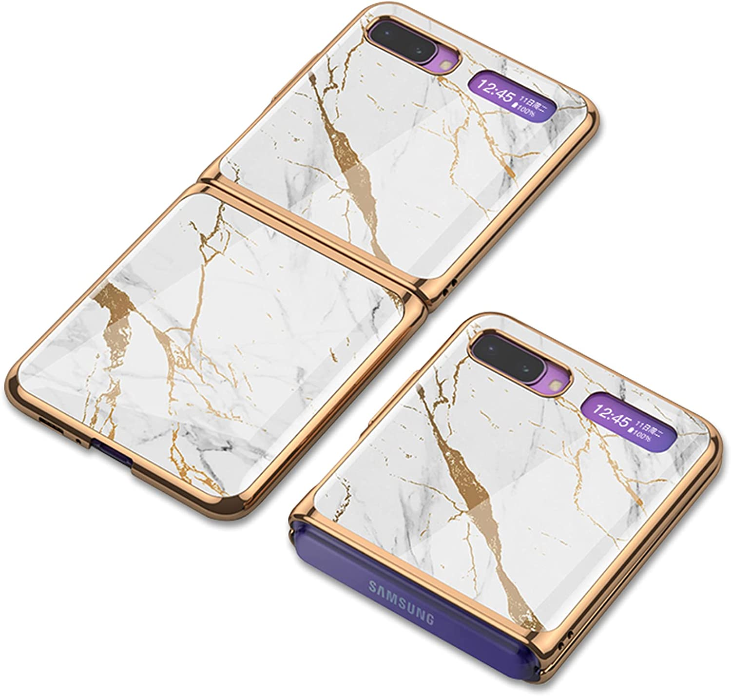 Jusy Samsung Galaxy Z Flip Case with Heart Pattern Design for Women, Slim Fit, Luxury and Elegant Ultra-Thin Protective Case for Galaxy Z Flip 5G (Marble Pattern)