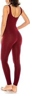 CNC STYLE Women Active Plus n Regular Size Cotton Stretch Scoop Neck Sleeveless Tank Yoga One Piece Jumpsuit Unitard Bodysuit