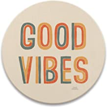 Good Vibes Drink Coasters, Absorbent Self Drying Absorbent Coasters for Hot or Cold Drinks, Retro Decor Set of Four