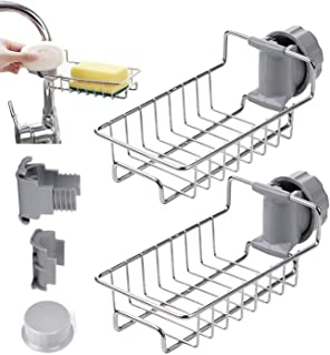 Porte-éponge pour Robinet de Cuisine, 2 Pièces Support de Rangement de Robinet en Acier Inoxydable Pour Savon/éponges, Org...
