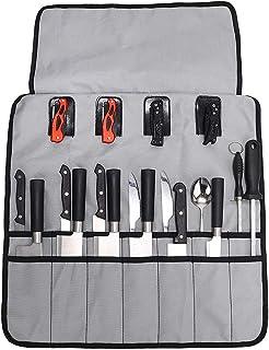 Bolsa enrollable para cuchillos de chef (14 ranuras, 4 bolsas de cuero), resistente al agua, con asas duraderas, funda para cuchillos portátil, perfecta para viajar, trabajar 50 * 50 cm gris