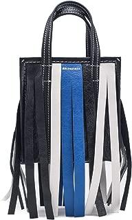 Lambskin Leather XS Bazar Fringe Shopper Handbag Black