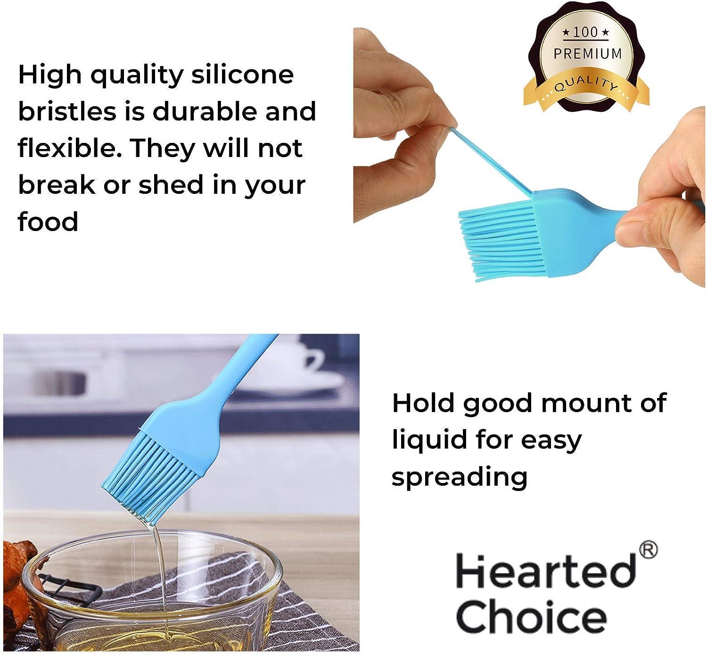 barbecue e cucina nucleo solido e rivestimento igienico cuocere Set di 2 pennelli da pasticceria con manico lungo resistente al calore per grigliare