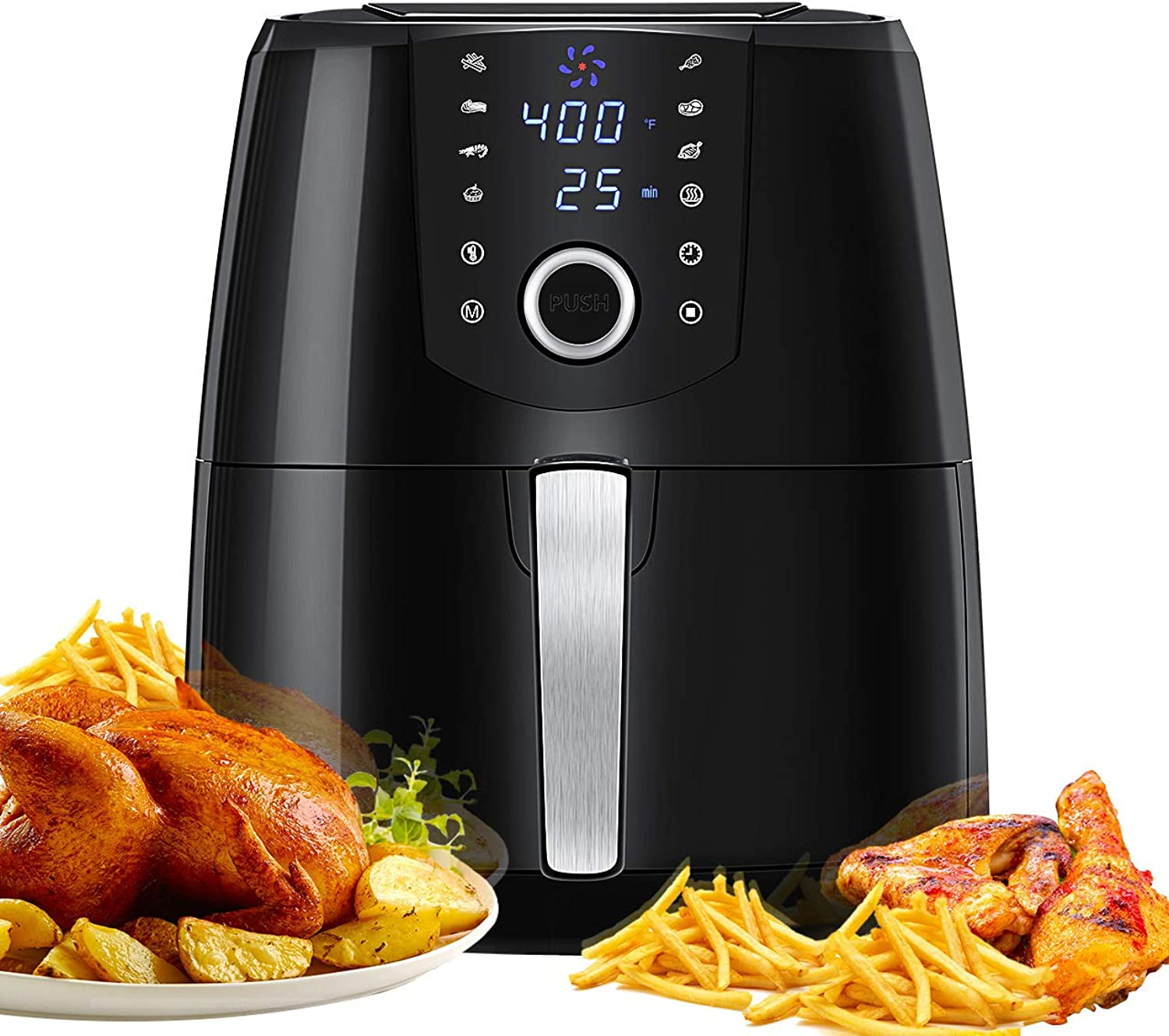 Upgraded OMORC Air Fryer, 3.8QT Digital Oilless Air Fryer (w Cookbook), Hot Air Fryer Oven w Quick Knob & Touch Screen, 8-15 Presets, Keep Warm, Detachable Non-Stick Dishwasher Safe Basket, 2-Year Warranty, 1400W
