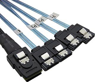 CABLEDECONN 0,75 m Intern SFF8087 Mini SAS 36pin mannelijke W/Latch naar SATA 7Pin Vrouwelijke (X4) Forward Breakout Kabel...