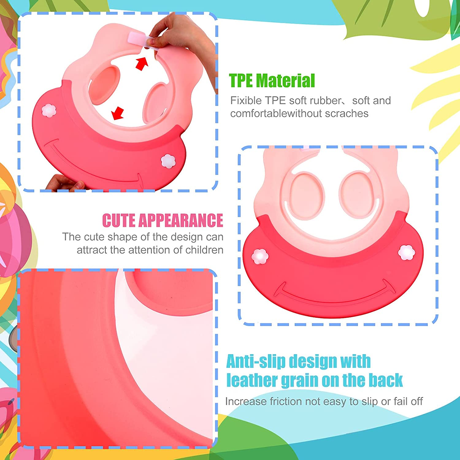 2 Pieces Baby Shower Cap Silicone Baby Bathing Hat Waterproof Children Shower Visor Hat Adjustable Shampoo Bath Cap with Eyes Ears Protection for Infants Toddlers Kids Children, Pink and Blue