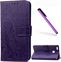 P9 Mini Case Huawei P9 Lite Cover EMAXELER Stylish Wallet Cover Kickstand Flip Cover Credit Cards Slot Cash Pockets PU Leather Flip Wallet Cover with Stand For Huawei P9 Lite Clover Purple