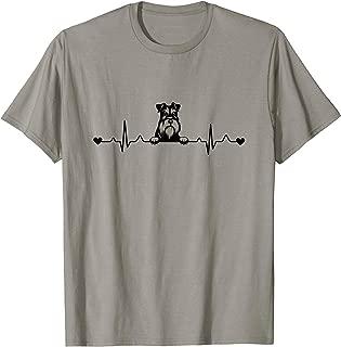 Cute Miniature Schnauzer Dog Heartbeat Pulse ECG T-Shirt