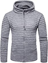 IZvs53C Men Casual Frontal Zipper Closure Cardigan Sweater O -Neck Knitted Pullover