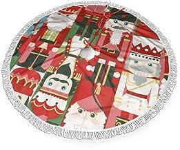 "WETG Christmas Time Nutcracker 30"" Christmas Tree Skirt for Decor, New Year Festive Holiday Party Decoration"