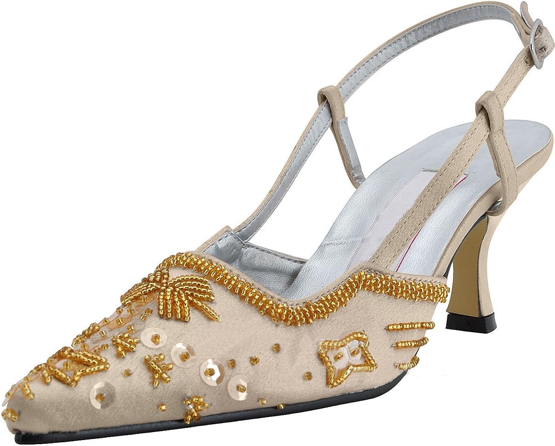 Minitoo Women's Bridal Satin Sandals Pump