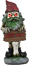 Ebros Gift Day of The Dead Keep Out! Butt Naked Skeleton Gnome Holding Sign Statue with Red LED Light Eyes 9.75