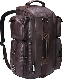 WITZMAN Outdoor Travel Duffels Backpack School Casual Daypack Canvas Rucksack (6809, PU Leather Coffee)