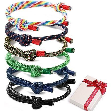6 pezzi intrecciati bracciali nautici intrecciati bracciali per uomo signore corda cordone bracciale fatti a mano bracciali colorati regolabili fatti a mano corda navy cordoncino