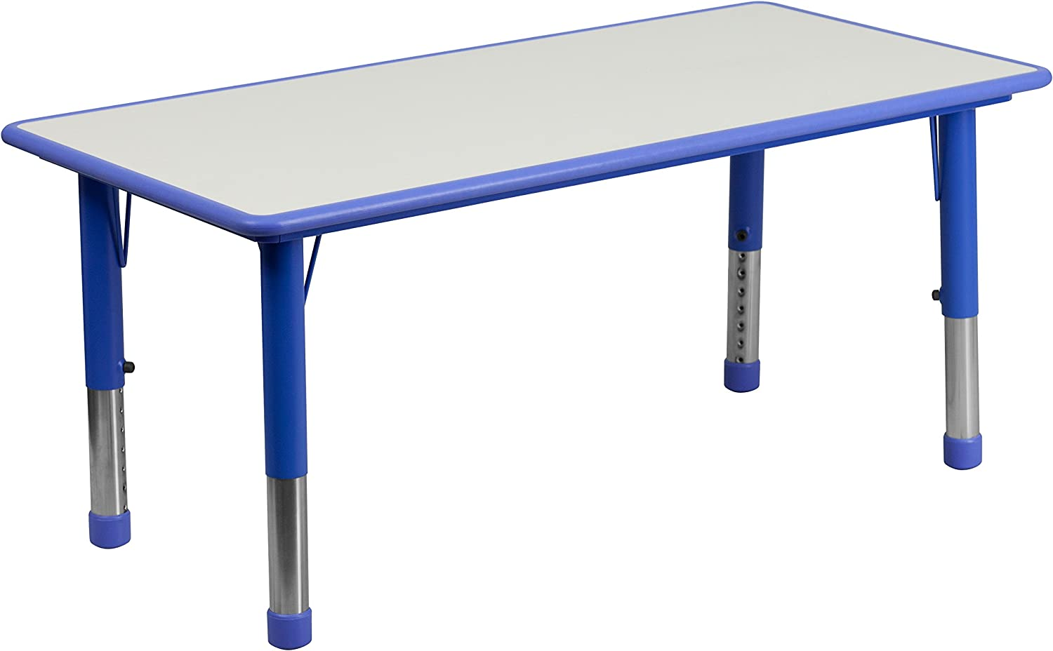 Flash Furniture 23.625''W by 47.25''L Height Adjustable Rectangular bluee Plastic Activity Table with Grey Top
