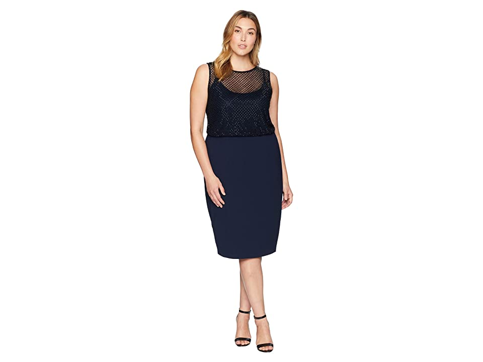 Adrianna Papell Plus Size Sleeveless Grid Bead Blouson Bodice with Stretch Crepe Skirt (Midnight) Women