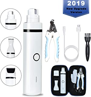 Pieviev Dog Nail Grinder Electric 2 Speed Dog Nail Trimmer Kit for Dogs & Cats, 3 in 1 Multi-Function Portable & Rechargable, Gentle Painless for Paws Grooming Trimming Smoothing
