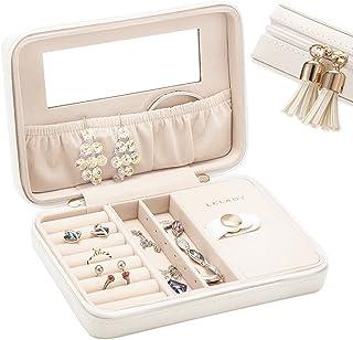 JL LELADY JEWELRY Small Jewelry Box Organizer Travel Jewelry Case Portable Faux Leather Jewelry Organizer Boxes Storage Case Mirror Women Girls (White)