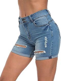 Tribear Women's Summer Ripped Hole High Waist Casual Short Jeans