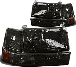 Pair of Smoke Lens Amber Reflector Headlight+Bumper+Corner Lamp for Ford F150 F250 Bronco 92 93 94 95 96
