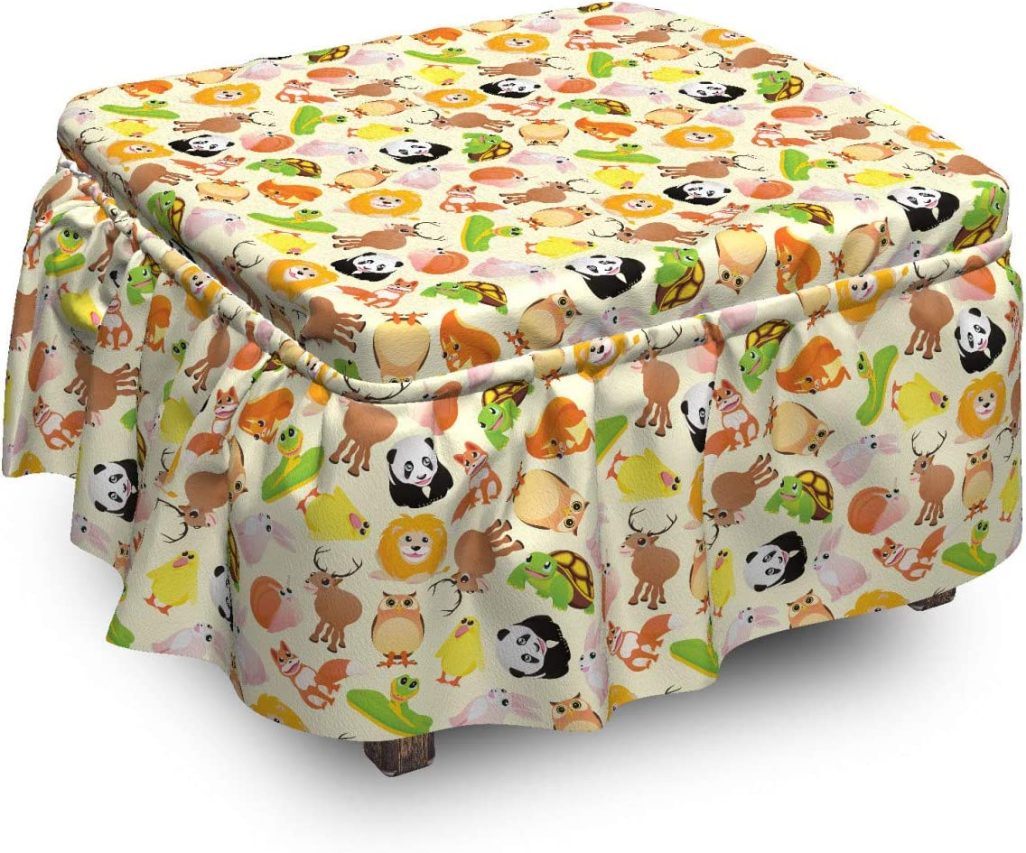 Lunarable Zoo Ottoman New item Cover Cartoon of Piece 2 New mail order Animals Nursery