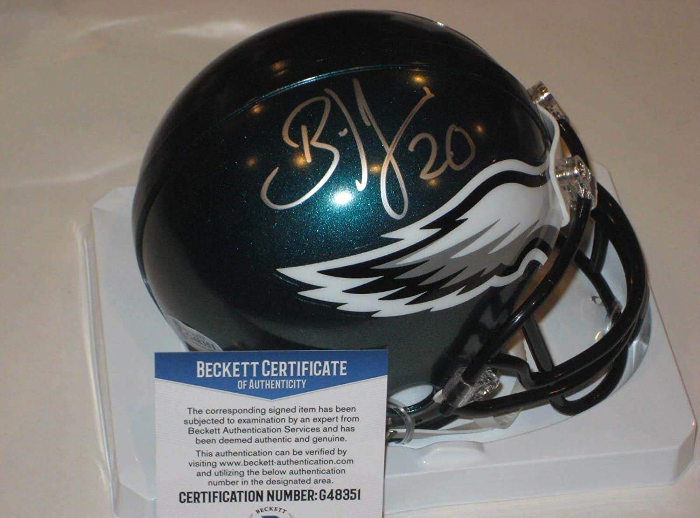 Brian Dawkins Autographed Mini Helmet  w Beckett COA  Beckett Authentication  Autographed NFL Mini Helmets