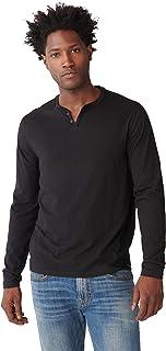 Lucky Brand Men's Long Sleeve Mineral Wash Button Notch Neck Tee Shirt