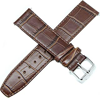 Jacques Lemans 22MM Alligator Grain Real Leather Watch Strap 8 Inches Brown and Silver Buckle Fits 34mm Dual Time