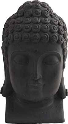 "Nearly Natural 4983 Indoor/Outdoor Buddha Head, Black,11.5"" x 12"" x 18.5"""