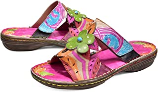 Womens Slide Sandals, Leather Flat Slip On Flip Flop Shoes Flower Splicing Pattern