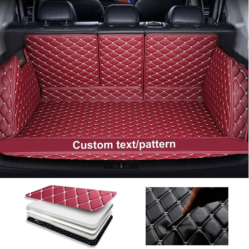 Tuqiang Alfombrilla de maletero de coche personalizada para Seat Ateca Arona ibiza Leon Toledo antideslizante, todo incluido, impermeable, cubierta de carga para maletero de mascotas, color rojo vino