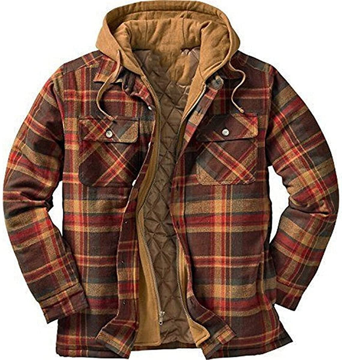 Men's Hooded Long Sleeve Plaids Design Fake 2pcs Warm Keeping Loose Fit Streetwear Winter Down Alternative Coats