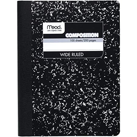 """Mead Composition Book, Wide Ruled Comp Book, Writing Journal Notebook with Lined Paper, Home School Supplies for College Students & K-12, 9-3/4"""" x 7-1/2"""", 100 Sheets, Black Marble (09910)"""