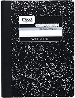 Mead Composition Notebook, Comp Book, Wide Ruled Paper, 100 Sheets, 9-3/4