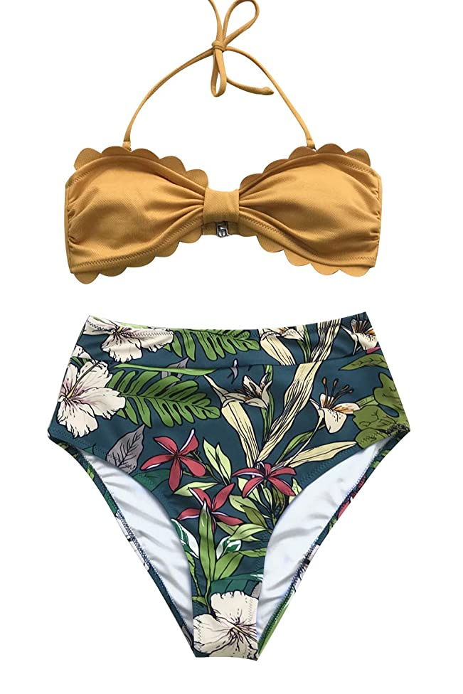 CUPSHE Women's Tropical Print Scallop Top High Waisted Bikini