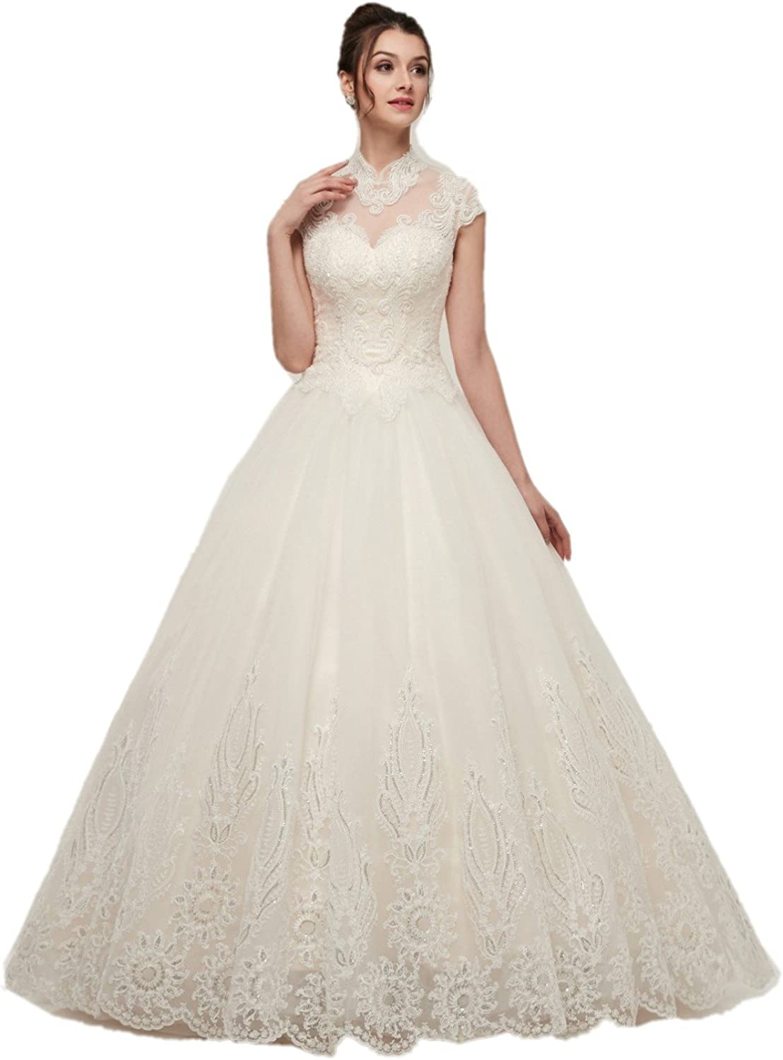 Darcy74Dulles Women's Elegant Embroidery Wedding Dress Backless White High Neck Wedding Gown Bridal Dress with Sequins