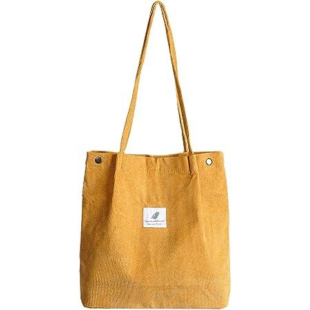 Etercycle Cord Umhängetasche Damen, Schultertasche Groß Cord Tasche Lässige Tote Handtasche Fashion Stofftasche für Alltag, Büro, Schulausflug und Einkauf - Gelb