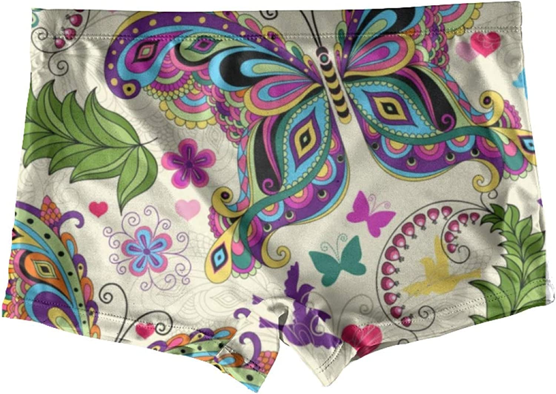 Hippie Floral Flowers Boxer Briefs For Girls Kids Underwear Boyshorts Panty Youth