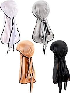 4 Pieces Unisex Durag Cap Silky Durag Headwraps Soft Pirate Hat with Long Tail for 360 Waves, 4 Types
