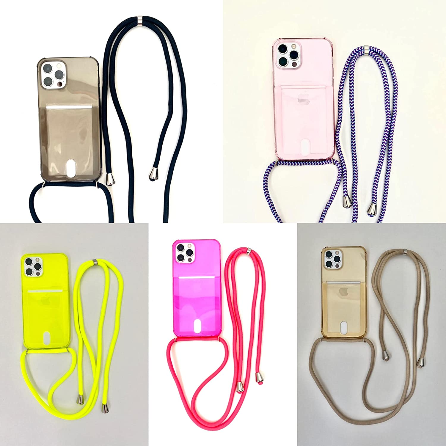 Crossbody Phone Case with Card Holder - TPU Protector Designed for iPhone 11, Holds 2 Cards - Hanging Smartphone with Shoulder/Neck Strap - Strong Metal Ring Attachment - Neutral (iPhone 11)