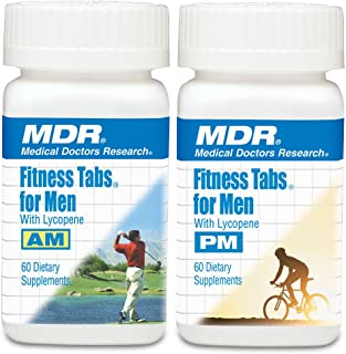 MDR Fitness Tabs Patented AM/PM Multivitamin for Men Doctor Formulated with Right Nutrients at The Right Time - Gluten Free - 2 Month Supply