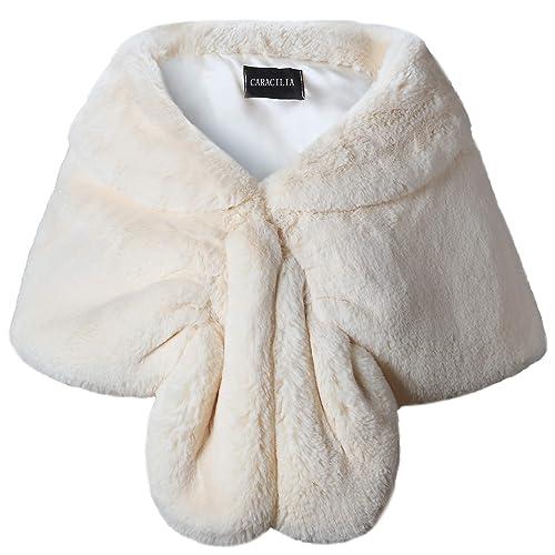 3a5cf7a8e5 Caracilia Faux Fur Shawl Wrap Stole Shrug Winter Bridal Wedding Cover Up