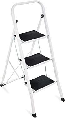 Best Choice Products 3- Step Steel Ladder, Folding Portable Step Stool w/ Non Slip Rubber Feet, Rubber Foot Pads, 330lb Capac