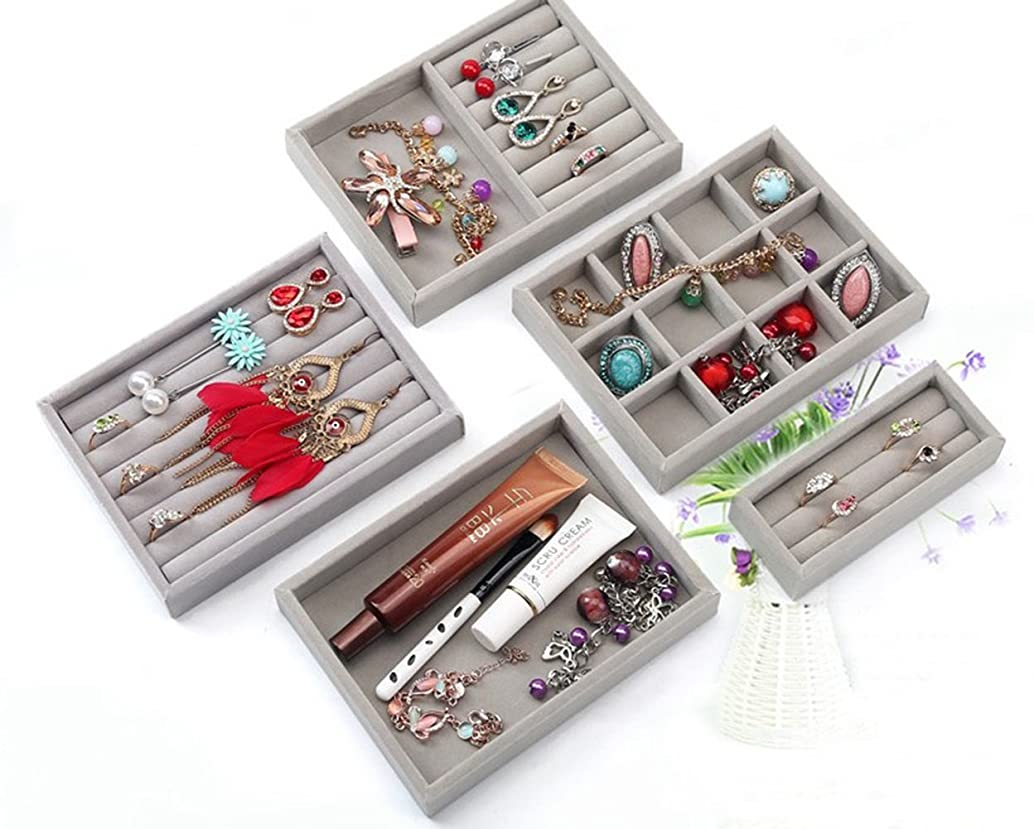 Carriemeow Full Velvet Jewelry Display Tray Small Jewelry Storage Box Drawer Tray (Style : Small Empty Plate)