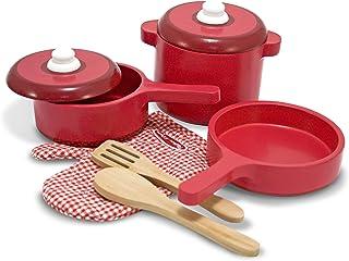 Melissa & Doug- Juego de Accesorios de Madera para la Cocina, Color rojo, 2+ (12610)