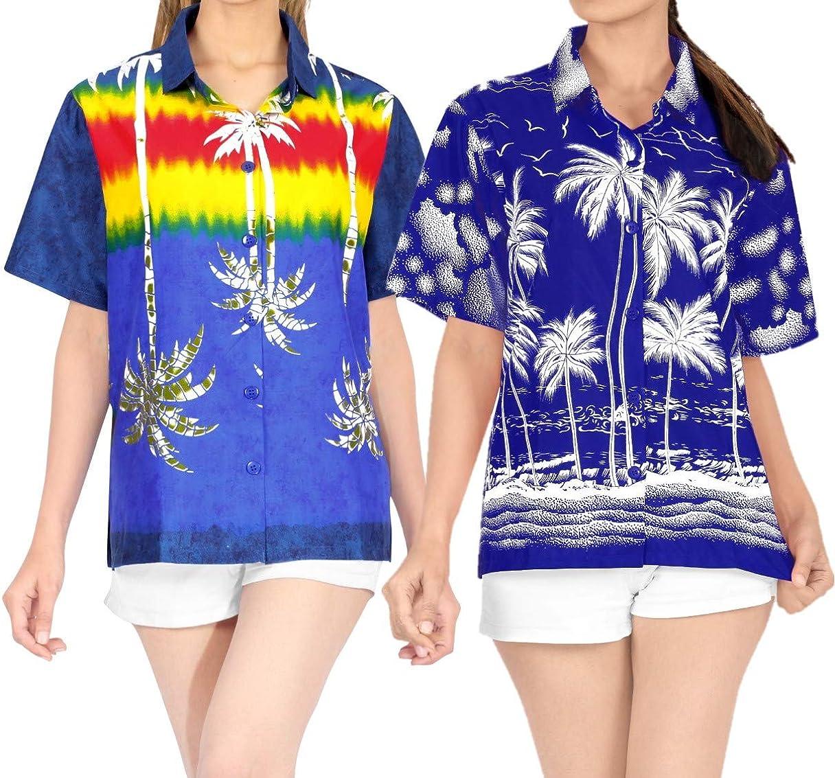 LA LEELA Women's Now free shipping Beach Hawaiian Shirt Sh Button Industry No. 1 Blouse Down Tops